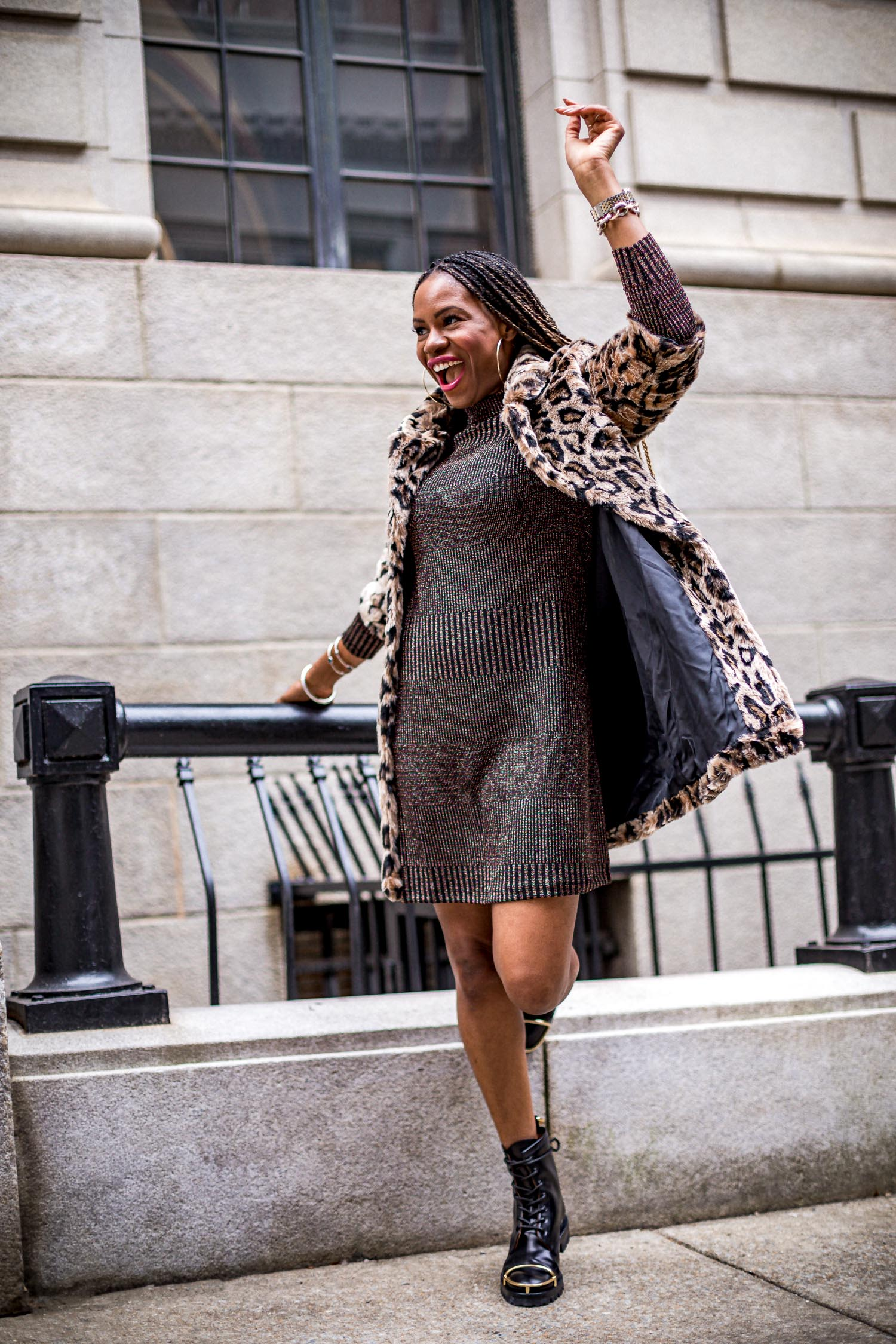 top atlanta fashion blogger wearing walmart metallic dress, faux fur leopard coat, combat boots, alexander wang boots, combat boots, holiday style, how to create a holiday look for under $100, leopard coat, how to style a leopard coat, how to style combat boots, what coat to wear this holiday season