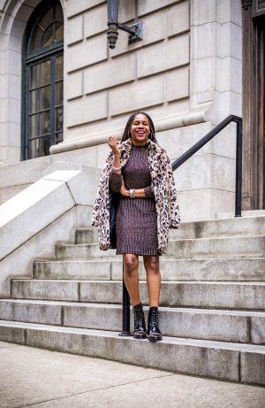 https://www.awedbymonica.com/wp-content/uploads/2019/10/atlanta-fashion-blogger-wearing-walmart-metallic-dress-faux-fur-leopard-coat-combat-boots-3.jpg