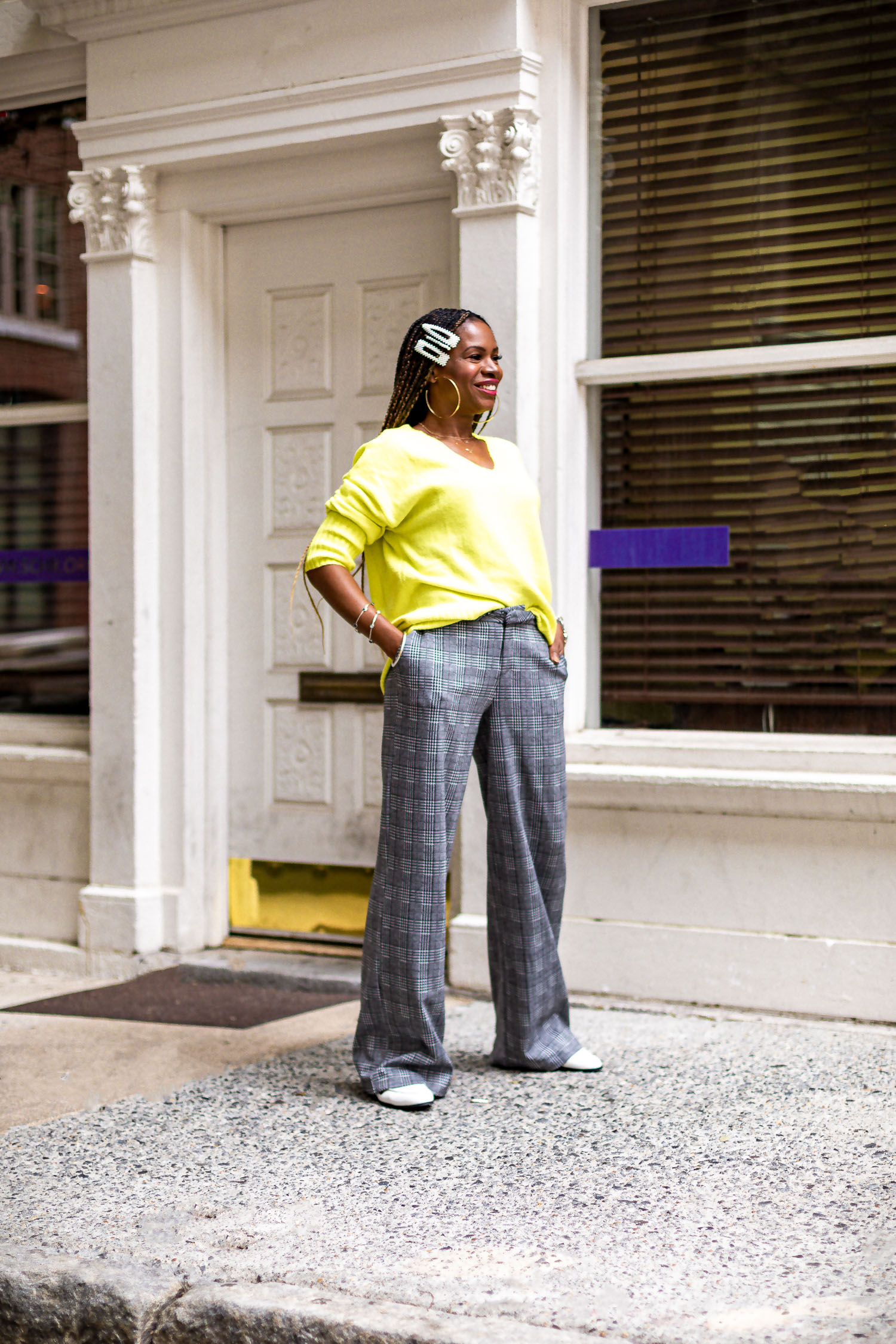atlanta fashion blogger wearing walmart plaid suit and yellow sweater, how to wear yellow in fall, how to style plaid, how to wear a plaid suit, how to style white shoes in the fall, how to wear pearl hair pins, how to look stylish on a budget, how to look expensive