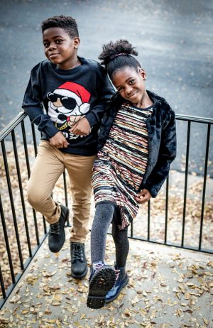 atlanta blogger kids pick the best gifts for christmas, what to buy kids 7-10 for christmas, kids fashion, how to style a sequin dress for a little girl, little girl wearing fur coat, faux fur coat, how to style combat boots for girls, how to style combat boots for boys, santa clause sweater for boys, h&m kids