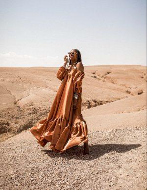 atlanta blogger wearing asiyami gold gold dress, dior chocker marrakech morroco_-5