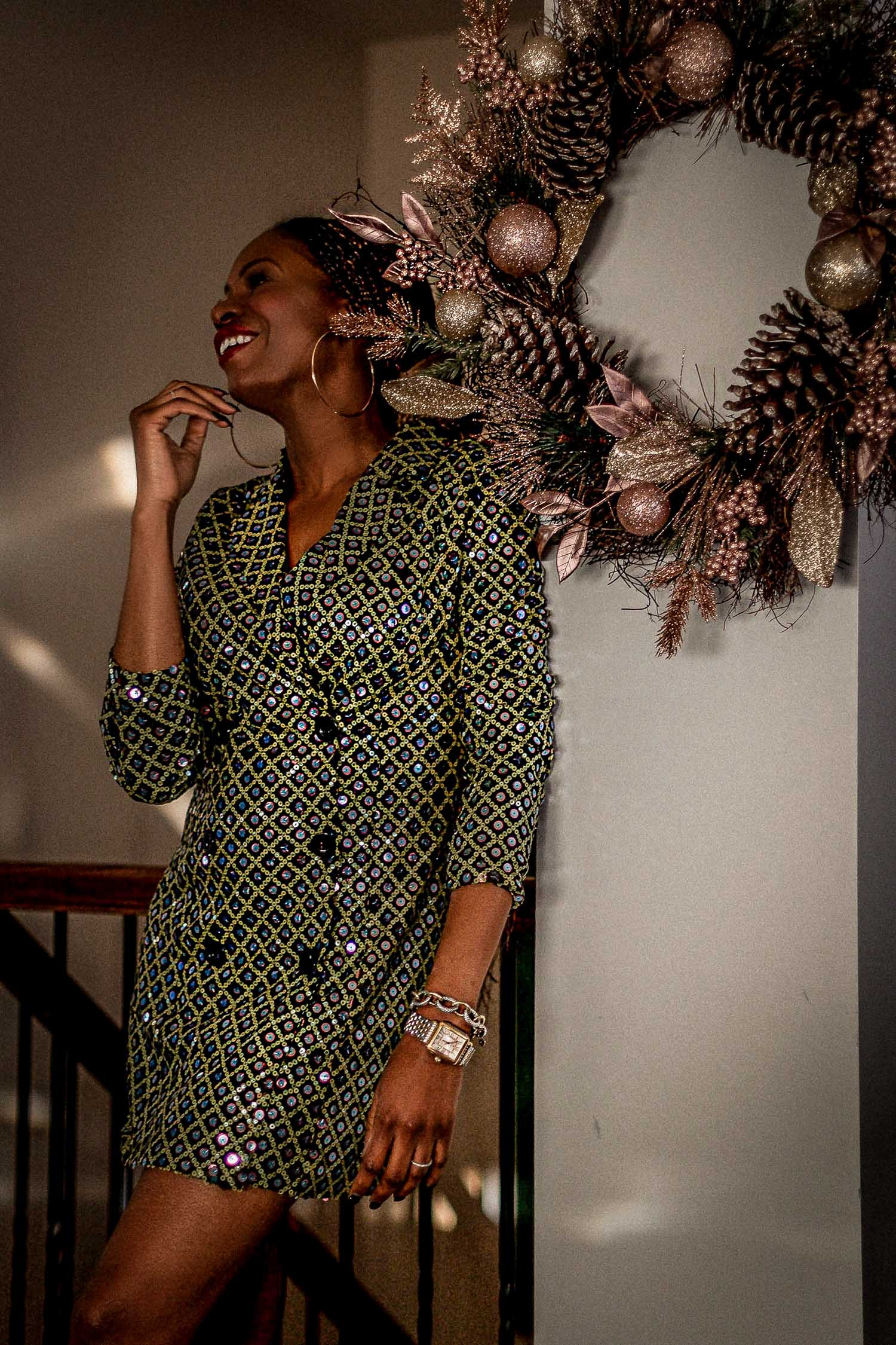 atlanta blogger wearing asos sequin blazer dress, what to wear this holiday season, asos, holiday dress,