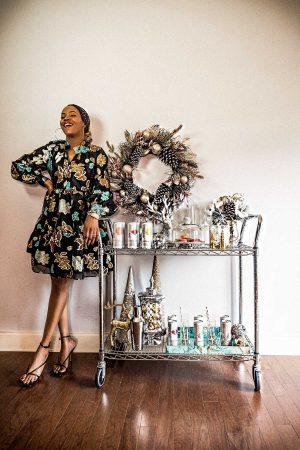 atlanta blogger wearing stine goya dress for holiday entertaining, how to simplify holiday entertaining, holiday drinks, holiday fun, what to do this holiday season, holiday entertaining,