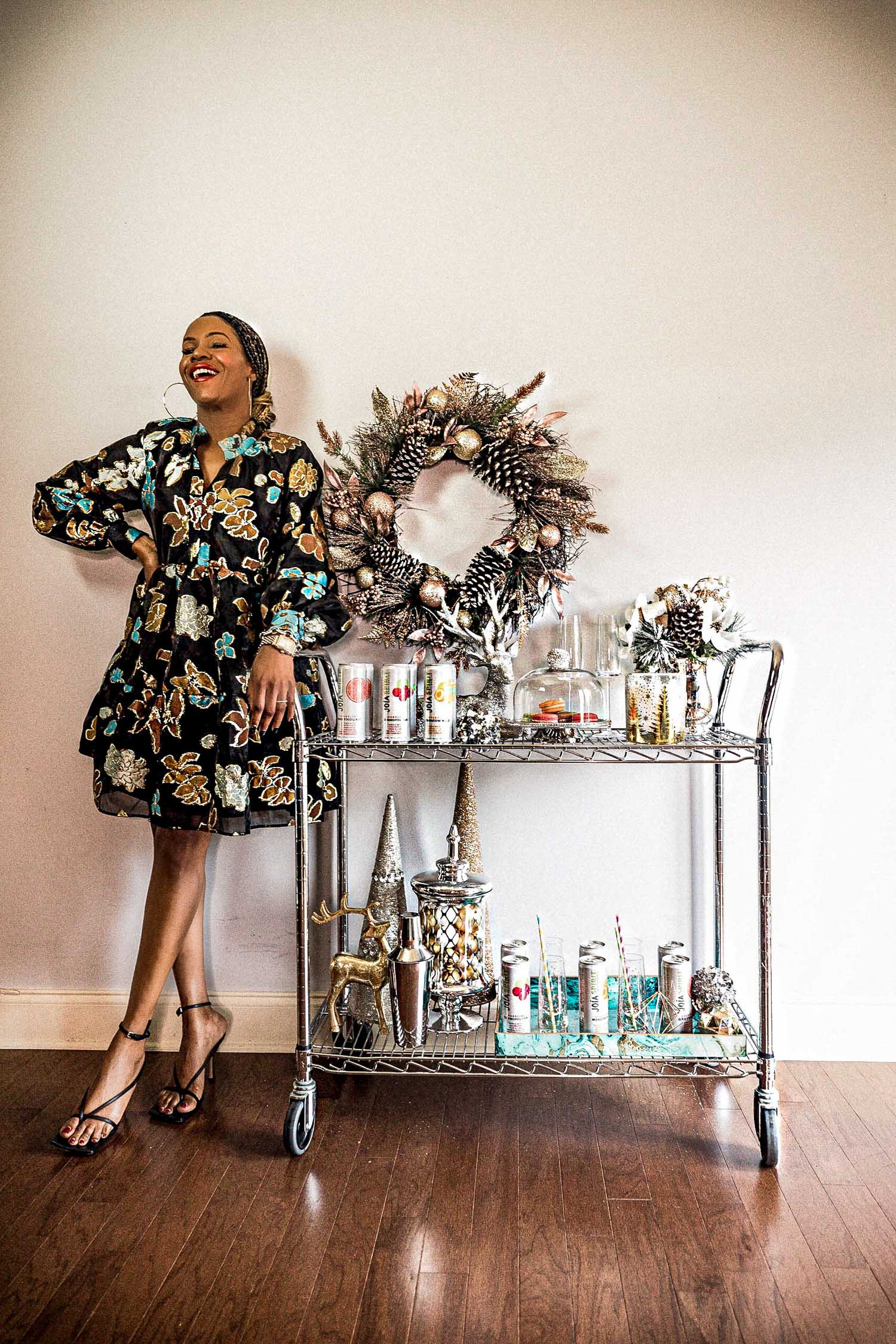 atlanta blogger wearing stine goya dress for holiday entertaining, how to simplify holiday entertaining, holiday drinks, holiday fun, what to do this holiday season, holiday entertaining,