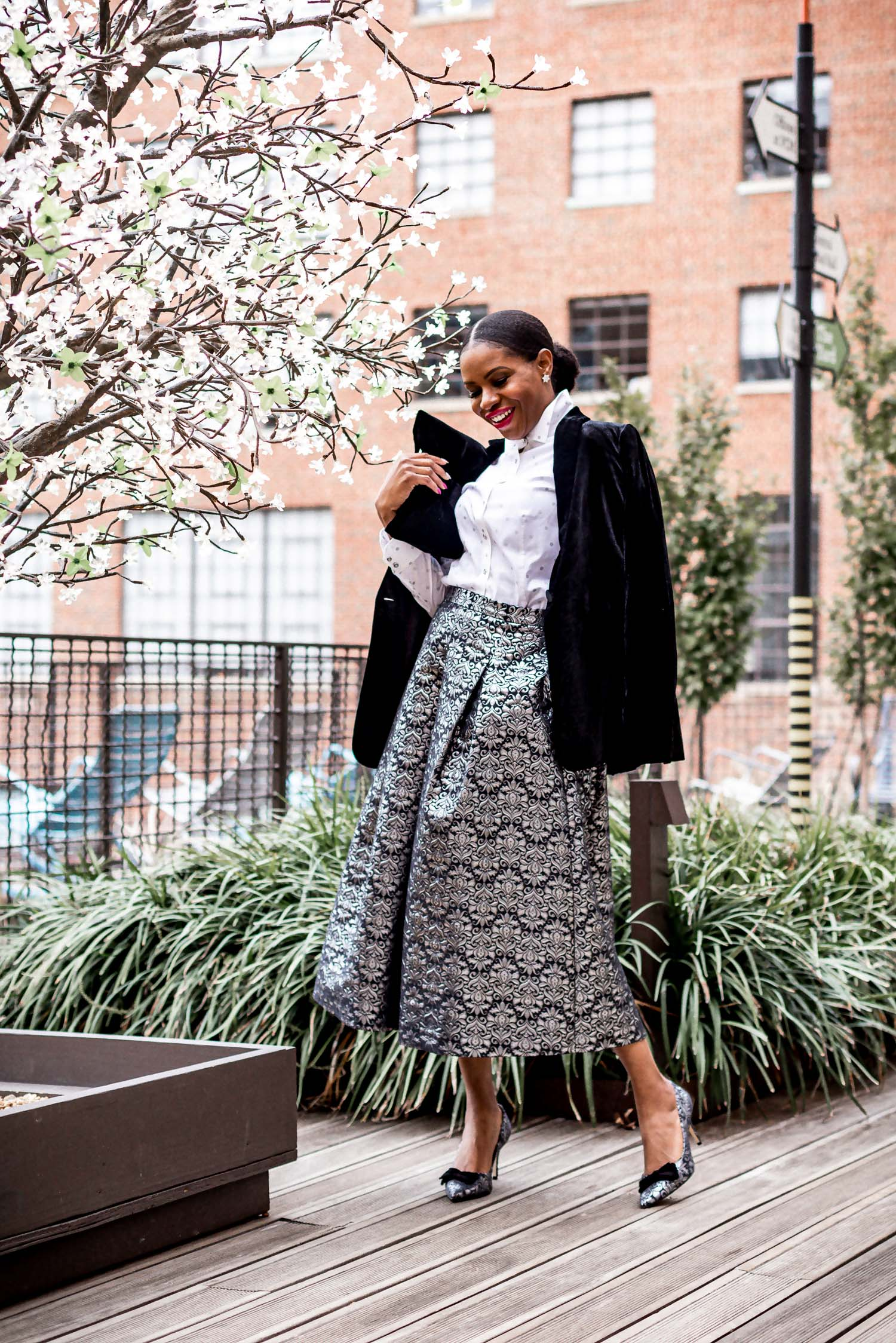 atlanta blogger wearing talbots holiday collection, midi skirt, white shirt, velvet blazer, and bow pumps, black blazer, holiday shoes, how to wear on christmas day, the perfect christmas dinner outfit what to wear to a holiday party, dress alternatives for holiday parties, plaid suit, green suit, velvet bag, plaid shoes, red plaid shoes, plaid shirt, holiday outfit, christmas party outfit, top blogger, atlanta blogger, top atlanta bloggers,