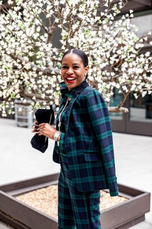 what to wear to a holiday party, atlanta blogger wearing talbots holiday green plaid suit, velvet clutch, plaid mule shoes, what to wear to a holiday party, dress alternatives for holiday parties, plaid suit, green suit, velvet bag, plaid shoes, red plaid shoes, plaid shirt, holiday outfit, christmas party outfit, top blogger, atlanta blogger, top atlanta bloggers,