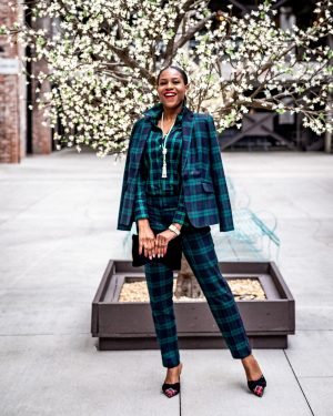 atlanta blogger wearing talbots holiday green plaid suit, velvet clutch, plaid mule shoes, what to wear to a holiday party, dress alternatives for holiday parties, plaid suit, green suit, velvet bag, plaid shoes, red plaid shoes, plaid shirt, holiday outfit, christmas party outfit, top blogger, atlanta blogger, top atlanta bloggers,