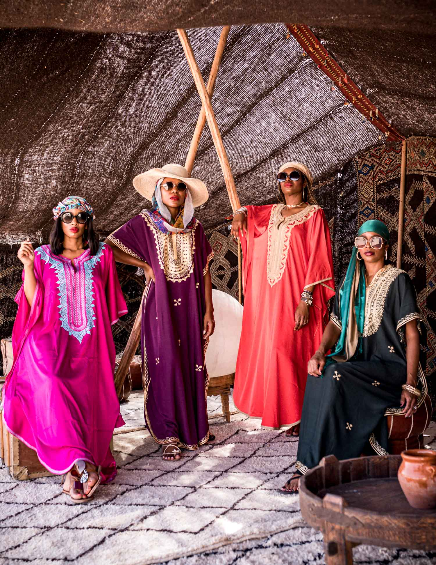 black bloggers wearing caftan in marrakech, vlog, travel blog, morocco