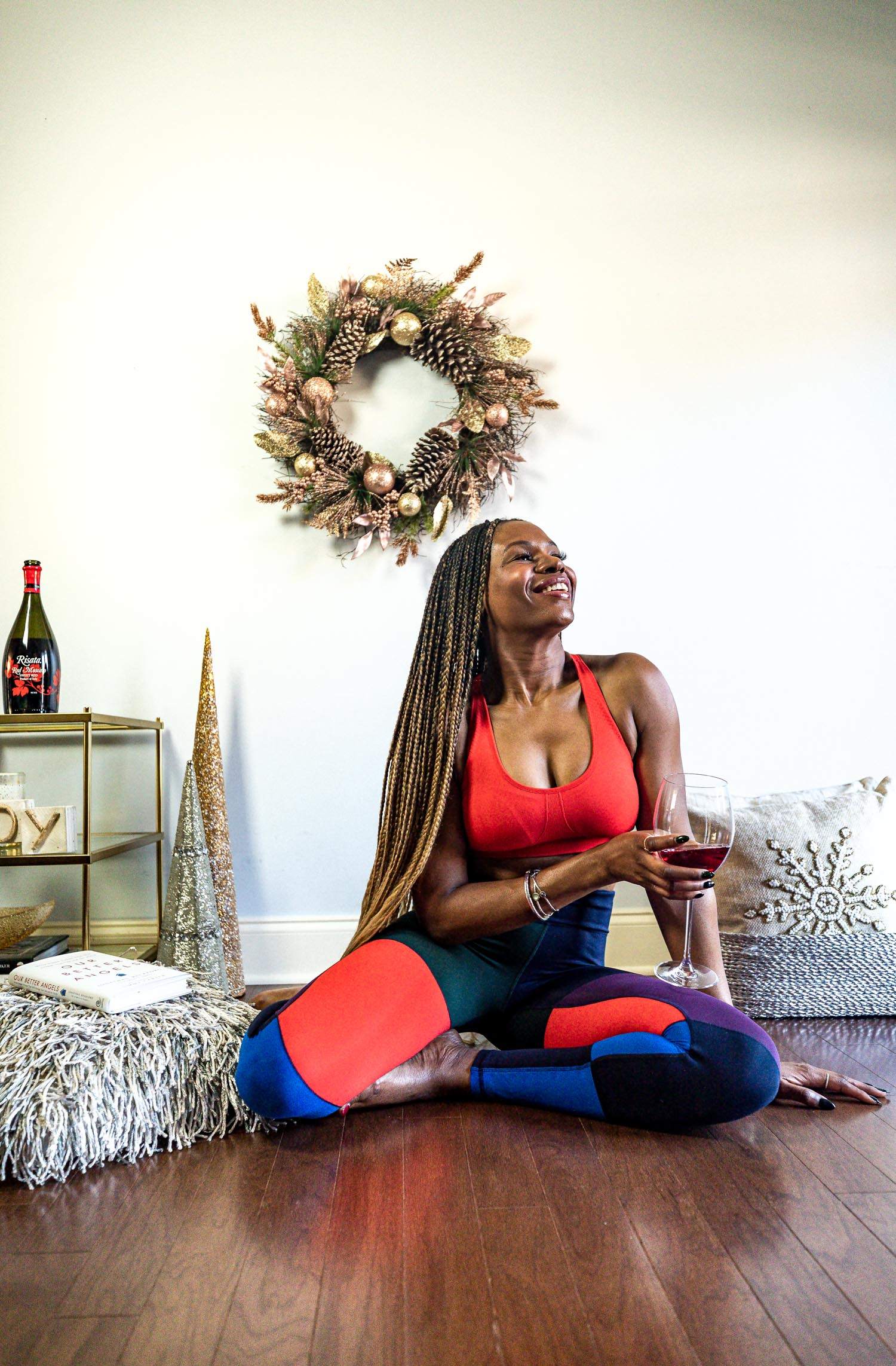 top atlanta blogger celebrating the holidays with self care and risata wines, tory burch sport, mediation, yoga, what to wear to mediate, what to wear for yoga, holiday season