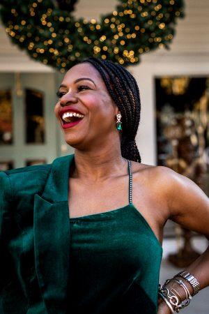 atlanta blogger wearing white house black market green velvet jumpsuit, green velvet blazer, bottega stretch sandals-6
