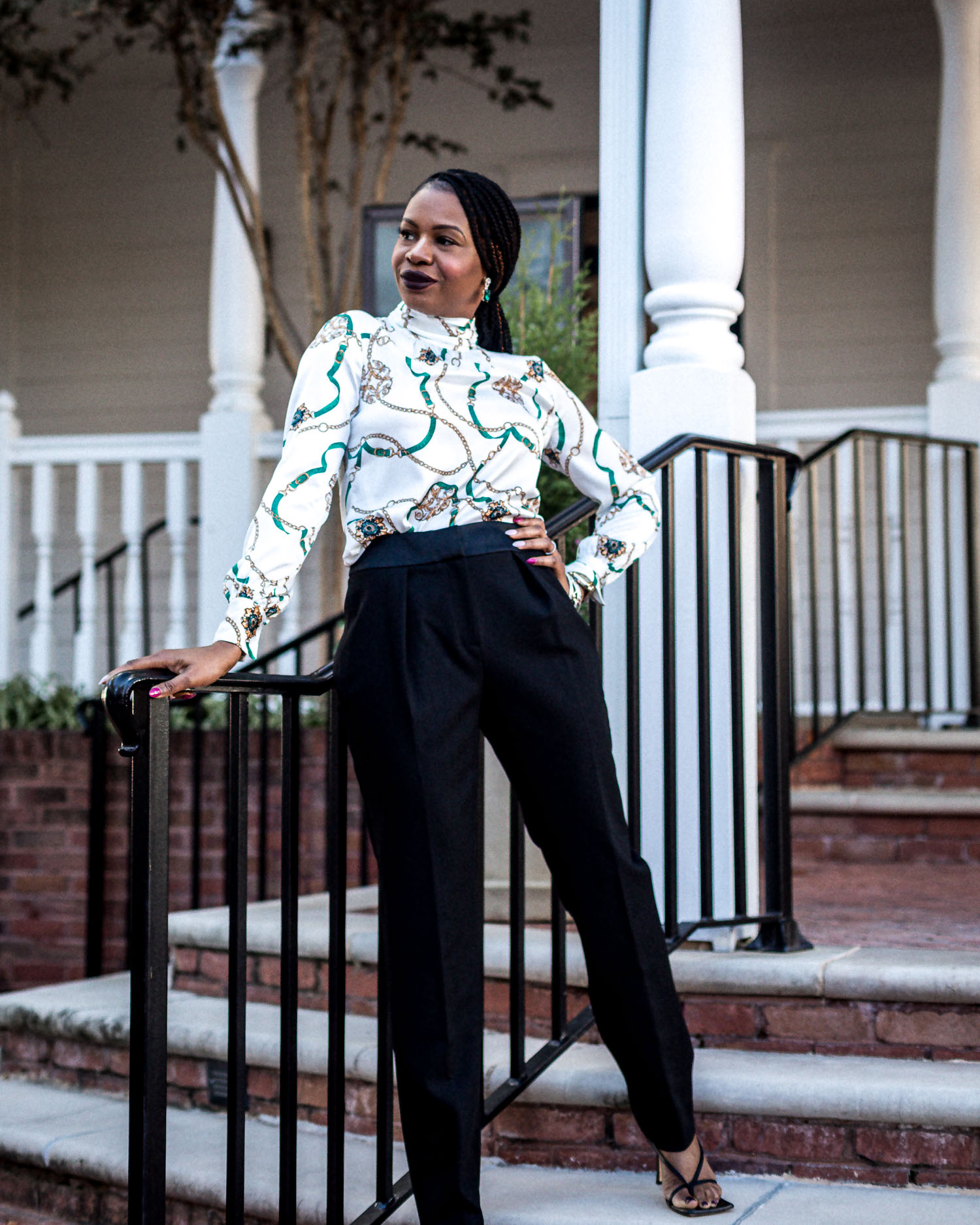 atlanta blogger wearing white house black silk high neck blouse, tuxedo pants, bottega stretch sandals, what to wear to an office christmas party, what to wear to a holiday party, the perfect holiday party outfit for all body types, how to style black pants for a holiday party