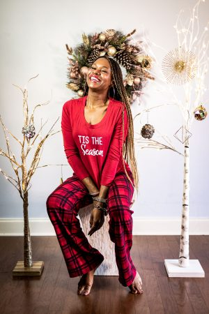 what to wear to a holiday pajama party, holiday pjs, pjs, pajama party, top atlanta blogger celebrating the holidays in Soma family pjs, matching family pajamas