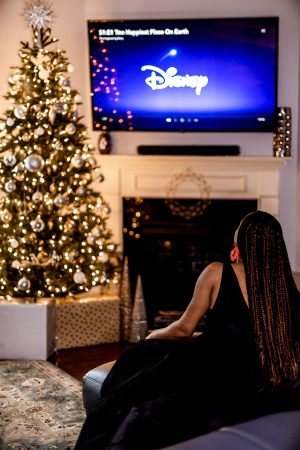 top atlanta blogger wearing h&m black tulle dress discovers the benefits of having disney plus, disney +, give the gift of disney plus this holiday season