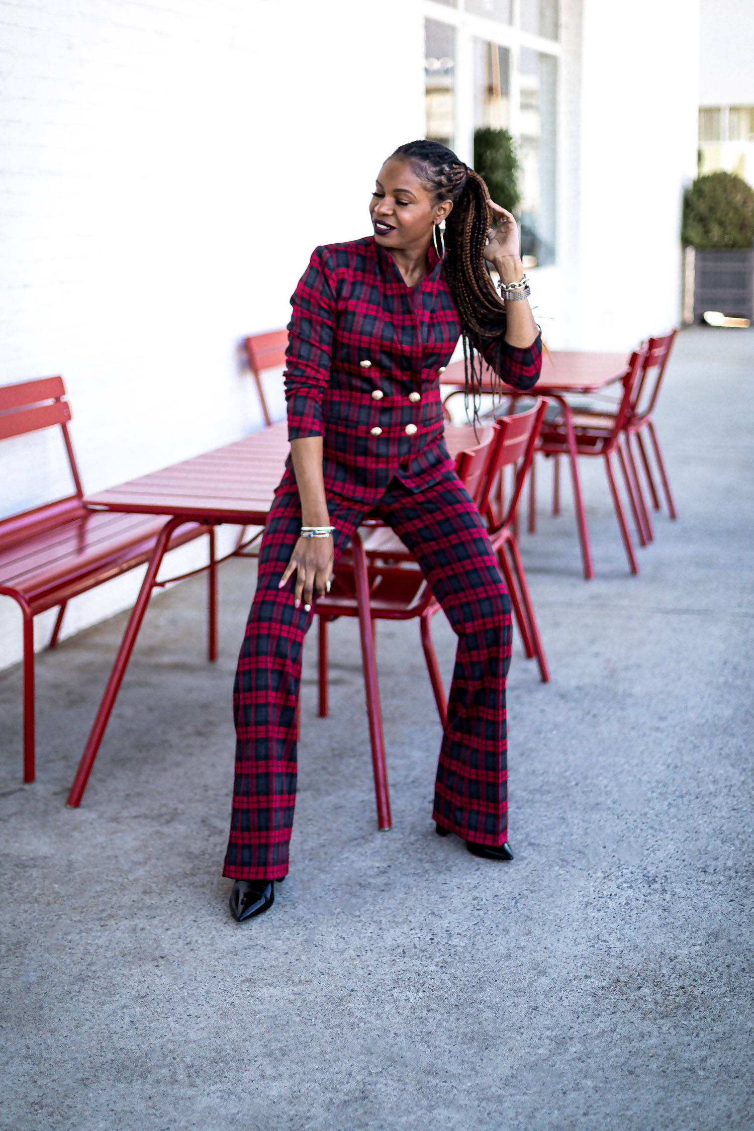 how to wear red during the holidays, how to wear red without being too christmasy, stylish ways to wear red during the holidays, how to style a red christmas sweater , top atlanta blogger wearing scoop for walmart red plaid suit, bottega bag