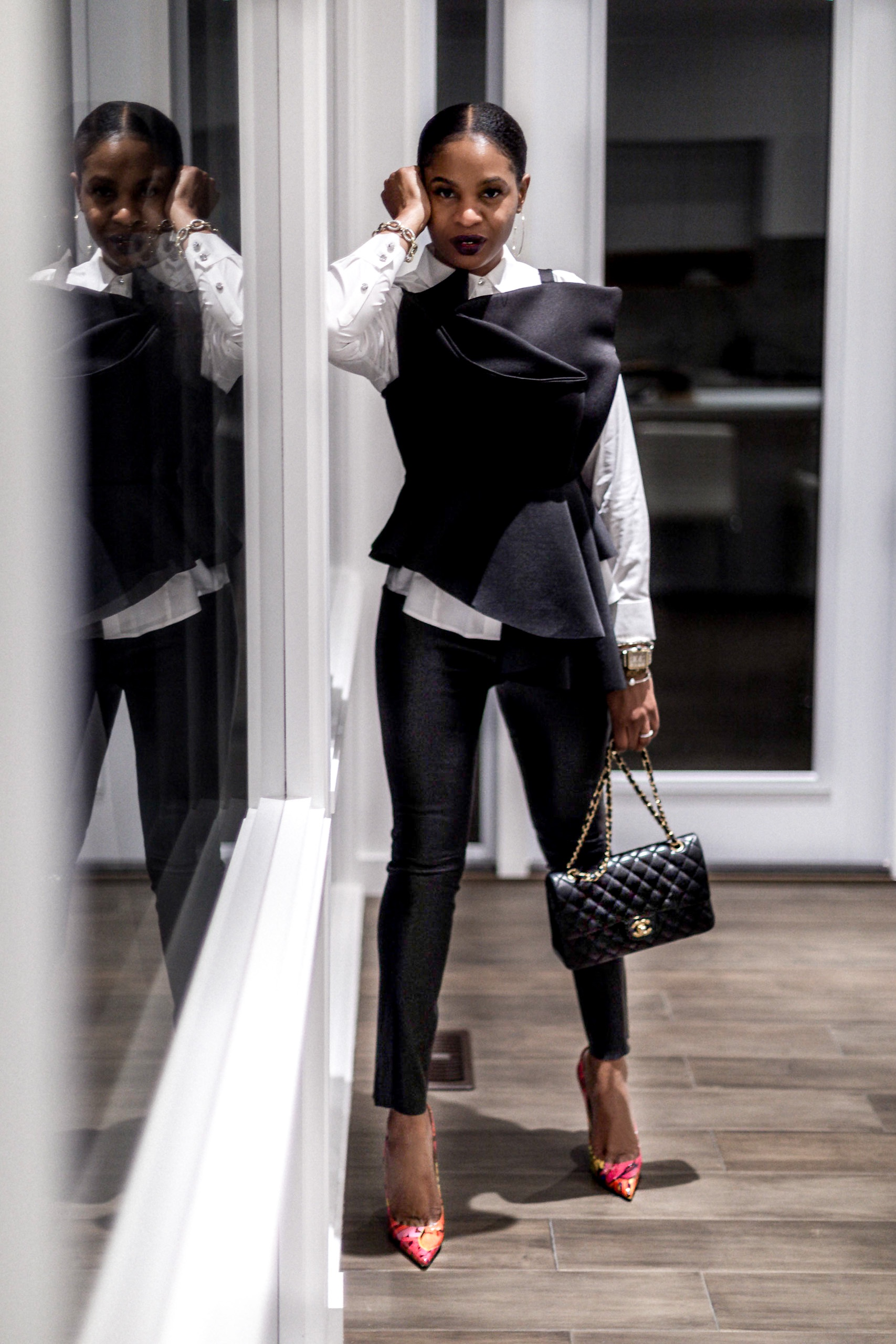 atlanta fashion blogger wearing white shirt with black scuba top and leather pants, what to wear to work, how to look stylish for work, how to look chic to work, how to elevate your work wardrobe, work attire, chic work outfits, christian loubutins, wearing christian louboutins to work, chanel bag, chanel work bag, black and white outfit ideas, how to look chic in black and white, top blogger, social media influencer, top social media influencer, top atlanta blogger, how to style, styling tips, style inspiration, outfit of the day