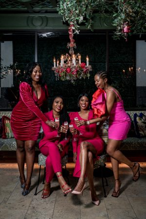 why you should celebrate galentine's day with your your girlfriends, what is galentines day, what to wear for galentine's day , how to nail galentines day, what is galentines day, the definition of galentines day, atlanta bloggers wearing pink and red celebrating galentines day, pink dress, what to wear for valentines day, pink and orange dress, fashion blogger wearing braids, hair styles, what to wear, how to style a one shoulder dress, what to wear for valentines day, how to style a pink dress for valentines day, Solace London Finley Mini Dress, Solace London, solace london dress