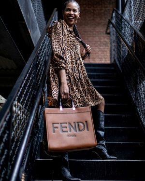 atlanta blogger wearing walmart scoop leopard dress, leopard dress, how to style a leopard dress, fendi sunshine tote, how to style the fendi sunshine tote