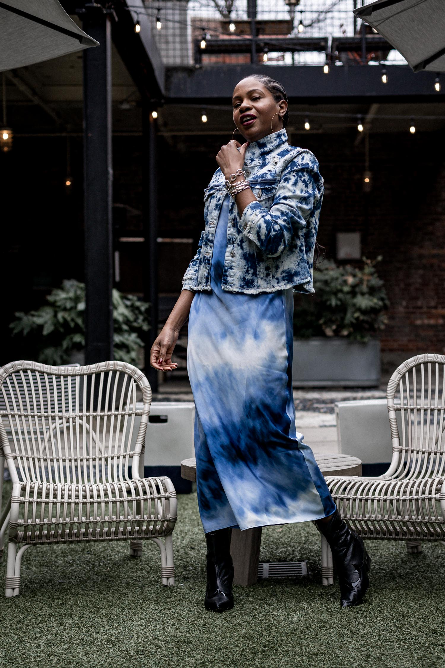 atlanta blogger monica awe-etuk wearing scoop at walmart tye-die slip dress and tye-die denim jacket, tye-die slip dress, how to wear tie-dye in cold weather, 2020 spring trends, what to wear for spring, how to wear spring trends in cold weather, spring trends to buy in 2020, pre-spring, transitional wear for spring , spring fashion , walmart, scoop, scoop at walmart, denim jacket, how to wear a denim jacket with a slip dress, how to style a slip dress with boots