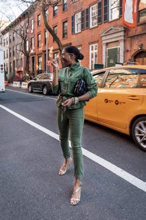 atlanta blogger monica awe-etuk wearing safari outfit from walmart, how to style the safari trend, utility jacket, and utility pants, green jacket, green pants, snake skin kitten heels, how to style kitten heels, marc fisher sandals, chanel sunglasses, round sunglasses, bottega bag, chelsea new york, new york blogger, how to make an outfit look expensive,