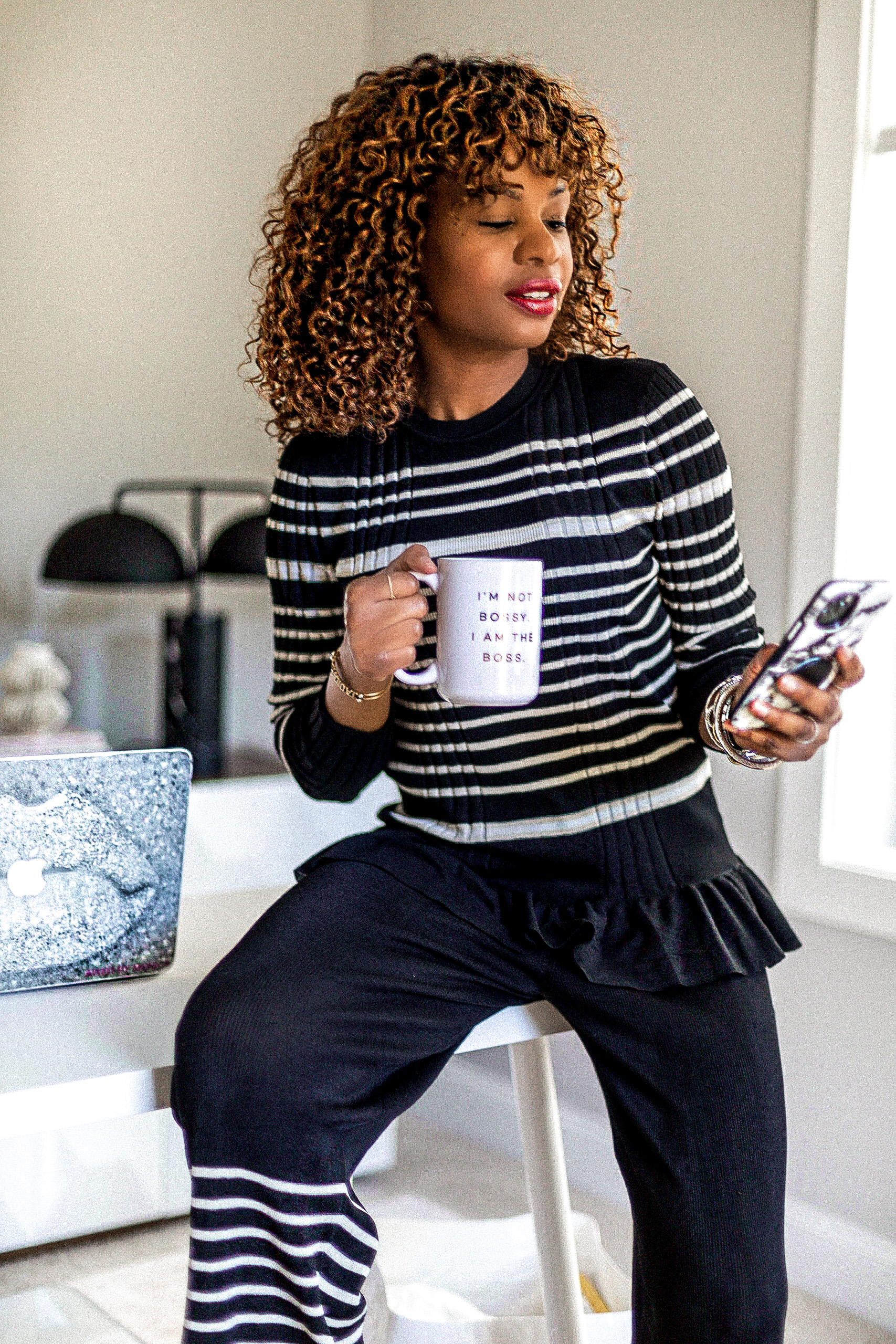 atlanta blogger shows you what to wear while working from home, lounge wear, lounge wear haul, what to wear while working from home, wfh, social distancing, lounge wear outfits, lounge wear try-on, track suit, lounge suit, black and white outfit