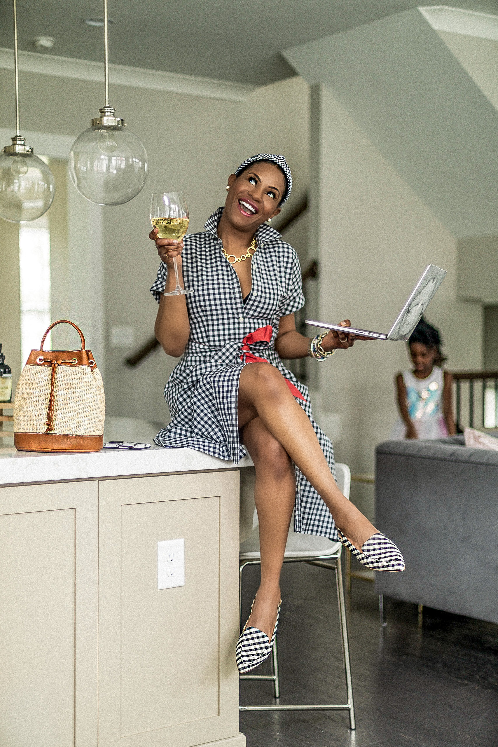 top atlanta fashion blogger wearing talbots spring gingham dress, gingham headband, gingham flats, what to give for mothers day, what to wear for mother day while under quarantine, spring 2020 trends