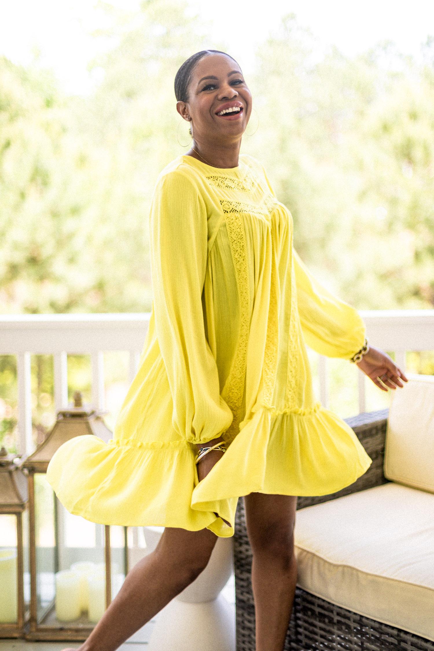 atlanta fashion blogger wearing yellow smock dress from walmart, yellow smock dress, summer dress, how to style a yellow dress, mini dress, yellow mini dress, spring dress, best dresses for spring