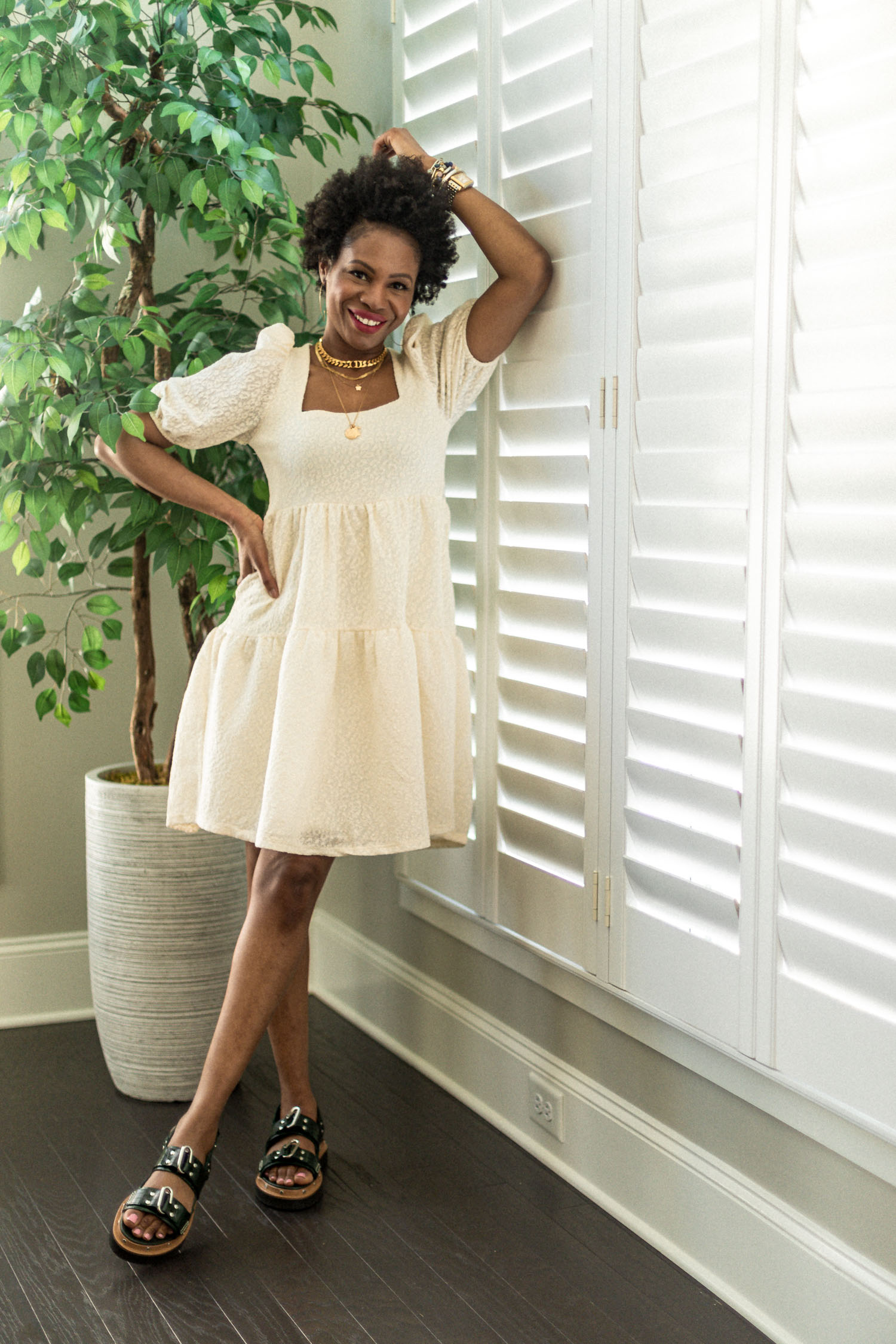 top atlanta fashion blogger, 5 outfits to wear for spring, what to wear for mothers day, what to wear for mothers day, mango shirt dress, smock dress, how to wear a baby doll smock dress, 3.1 philip flat form sandals, flat form sandals, spring shoe trends , how to style flatform sandals, how to style an afro, how to make an afro chic, comfortable spring outfits, try-on haul