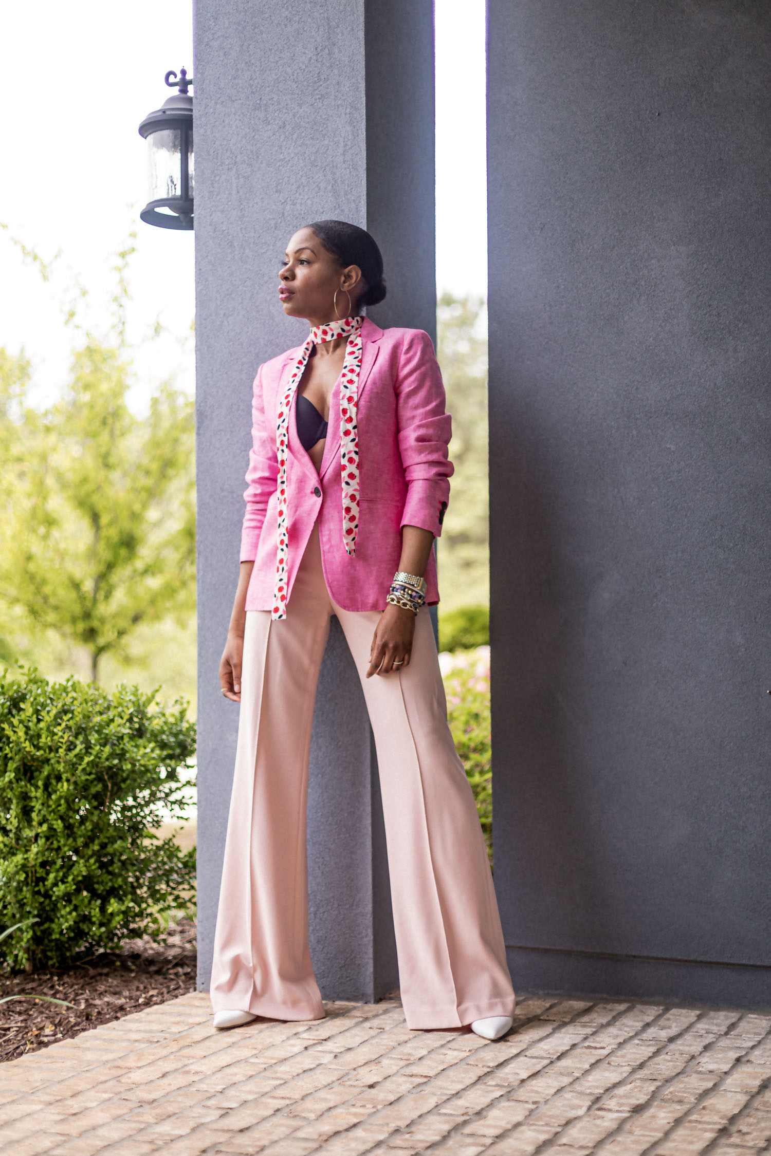 atlanta blogger shows you how to style a pink blazer for spring 2020, how to style a blazer, how to style a linen blazer, talbot blazer, talbot linen blazer, 1 blazer styled 4 ways, outfit try-on, outfit haul, how to style a linen blazer, how to style a pink linen blazer