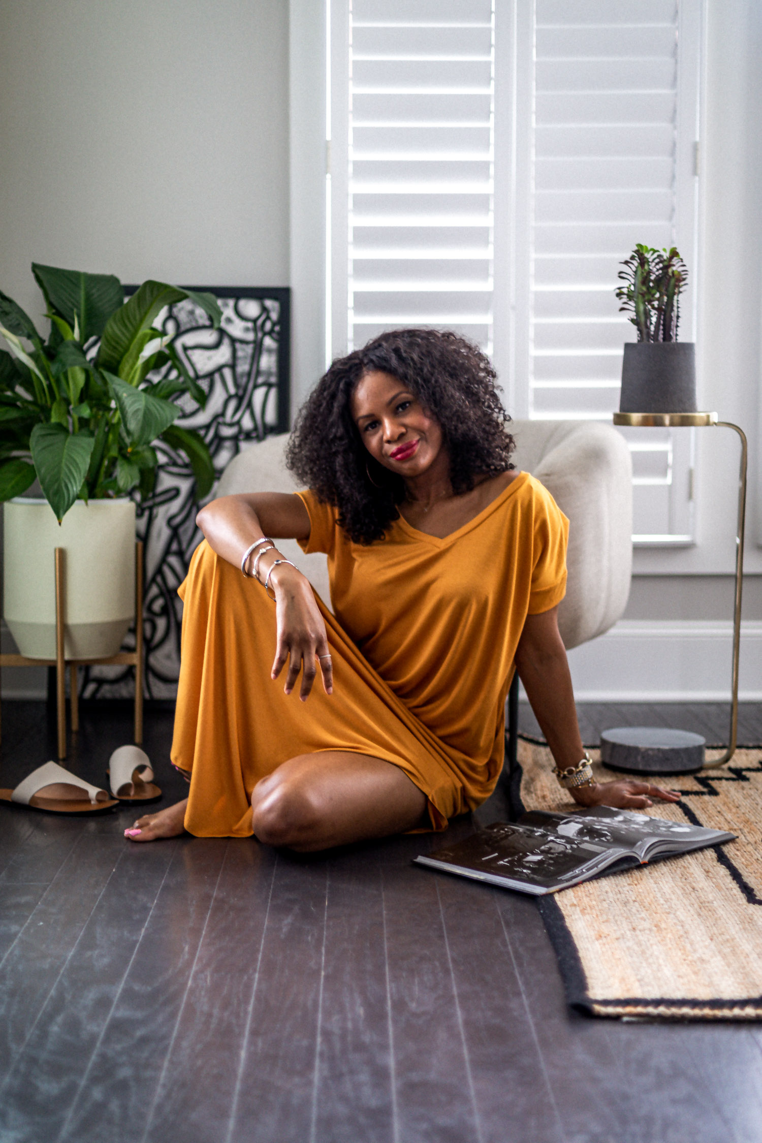 atlanta fashion blogger wearing loungewear dresses for summer, how to style your loungewear, how to style a loungewear dress, loungewear, how to look cute in loungewear, the best loungewear to wear at home, wrap dress, outfit inspiration, loungewear outfit inspiration, orange dress, orange lounge dress