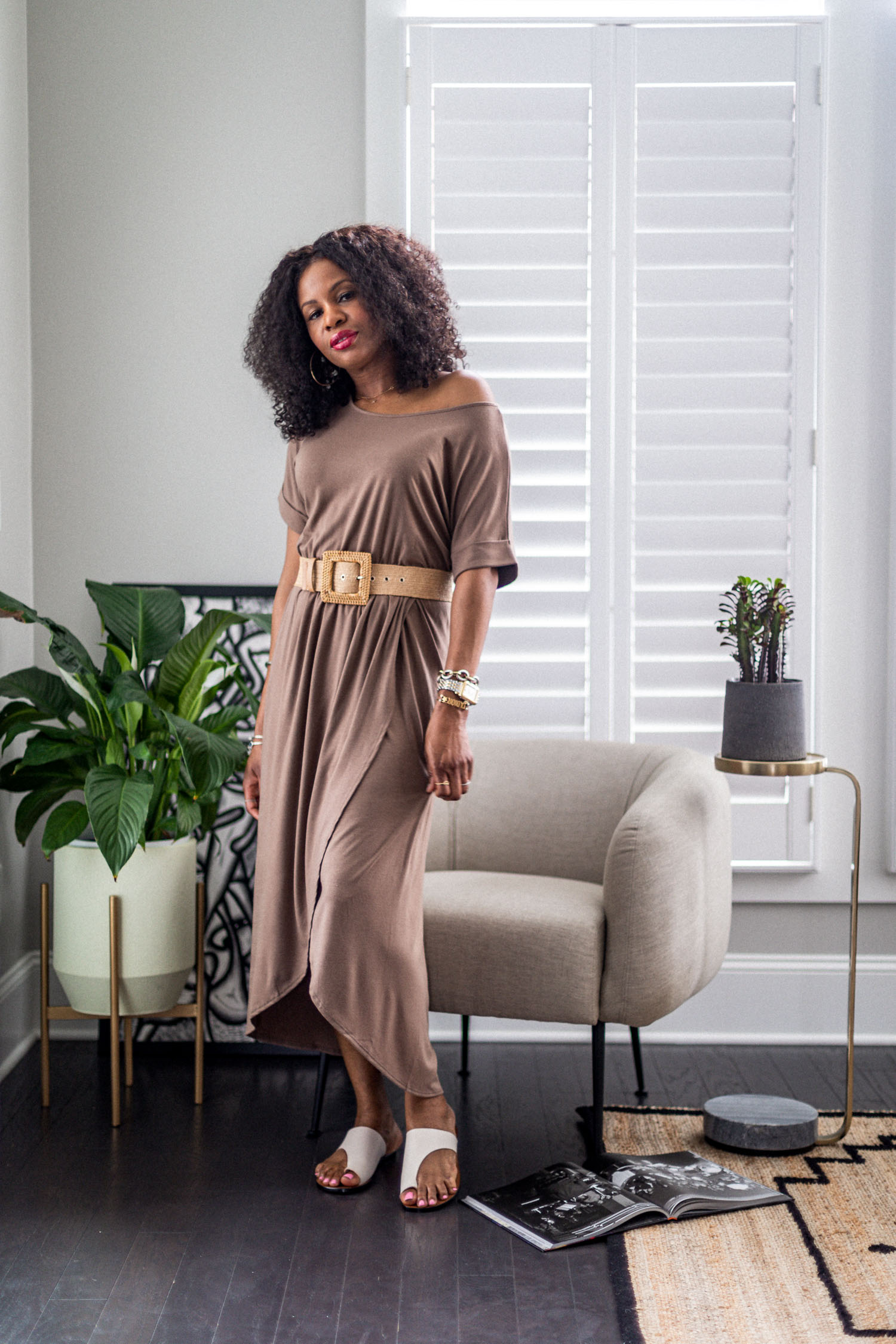 atlanta fashion blogger wearing loungewear dresses for summer, how to style your loungewear, how to style a loungewear dress, loungewear, how to look cute in loungewear, the best loungewear to wear at home, wrap dress, outfit inspiration, loungewear outfit inspiration, beige dress, beige lounge dress,