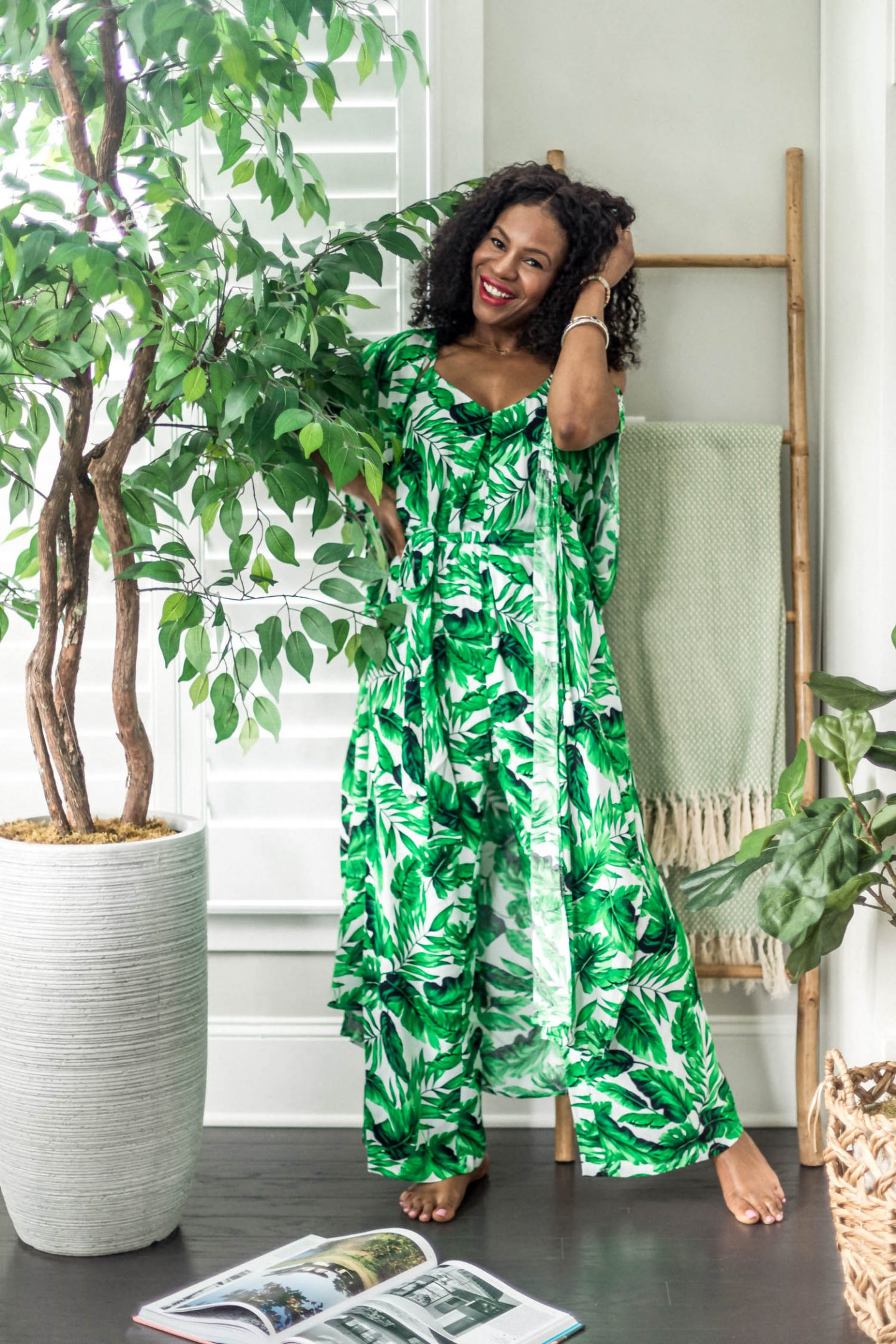 atlanta fashion blogger wearing scoop by walmart leaf print jumpsuit, green jumpsuit, green kimono, how to style a summer jumpsuit, how to style leaf patterns, best leaf pattern, summer jumpsuit, matching jumpsuit and kimono, , what to wear for summer, warm weather outfits, affordable outfits under $50