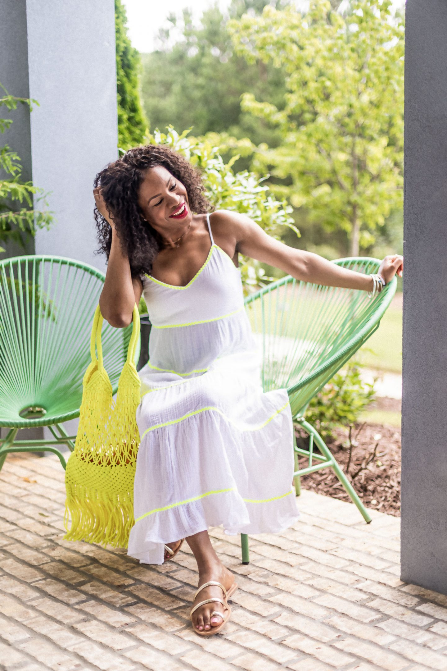 atlanta fashion blogger wearing scoop by walmart white midi dress with yellow bag, how to style a white dress for summer, affordable white dresses, yellow bag, what to wear for summer, warm weather outfits, affordable outfits under $50