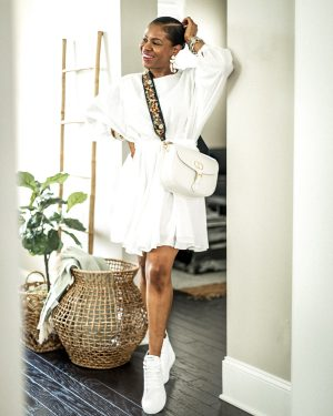 atlanta blogger wearing summer dresses from h&m, hm, hm dresses, summer dress, what to wear for summer, best dresses for summer, what to wear at home, summer dress trend for 2020, 2020 trends, baby doll dress, mini dress, home decor, large basket, crate and barrel, white dress, lwd, little white dress, sneakers, how to wear high tops with a dress, white sneakers, white high top sneakers, tahkoon sneakers, dior bag, dior bobby bag, white large dior bobby bag, how to style the dior bobby bag, what to wear with the dior bobby bag, white bags, white hm dress