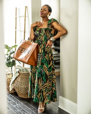 atlanta blogger wearing summer dresses from h&m, hm, hm dresses, summer dress, what to wear for summer, best dresses for summer, what to wear at home, summer dress trend for 2020, 2020 trends, baby doll dress, mini dress, home decor, large basket, crate and barrel, print maxi dress, open back dress, how to style a print dress, best maxi dress for the summer, fendi tote, fendi sunshine tote, how to style the fendi sunshine tote, what to wear with the fendi sunshine tote, gold earrings, leaf earrings, gold leaf earrings, gold sandals, j.crew gold sandals