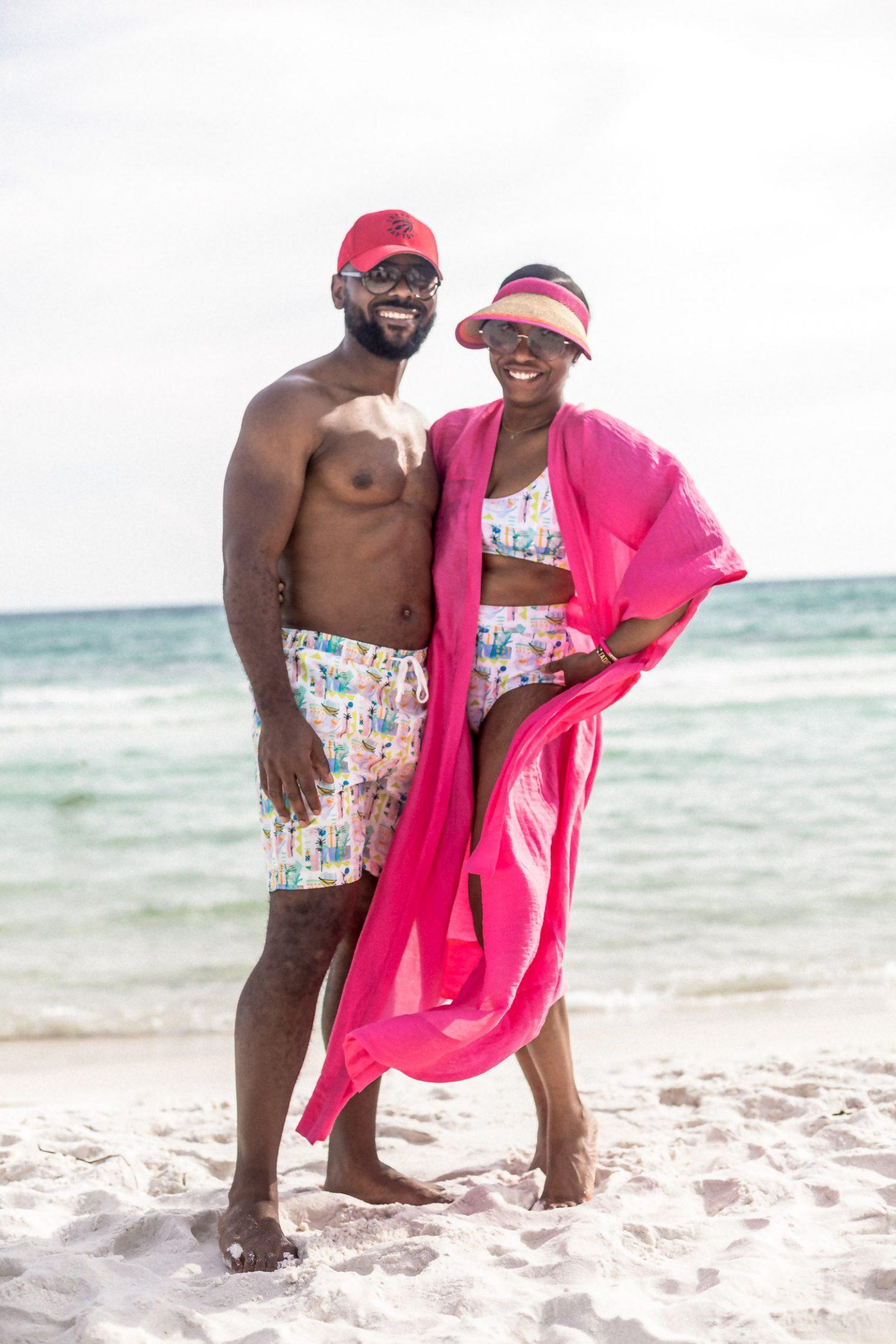 beach vacation during covid 19, alys beach, h&m kimono, pink kimono