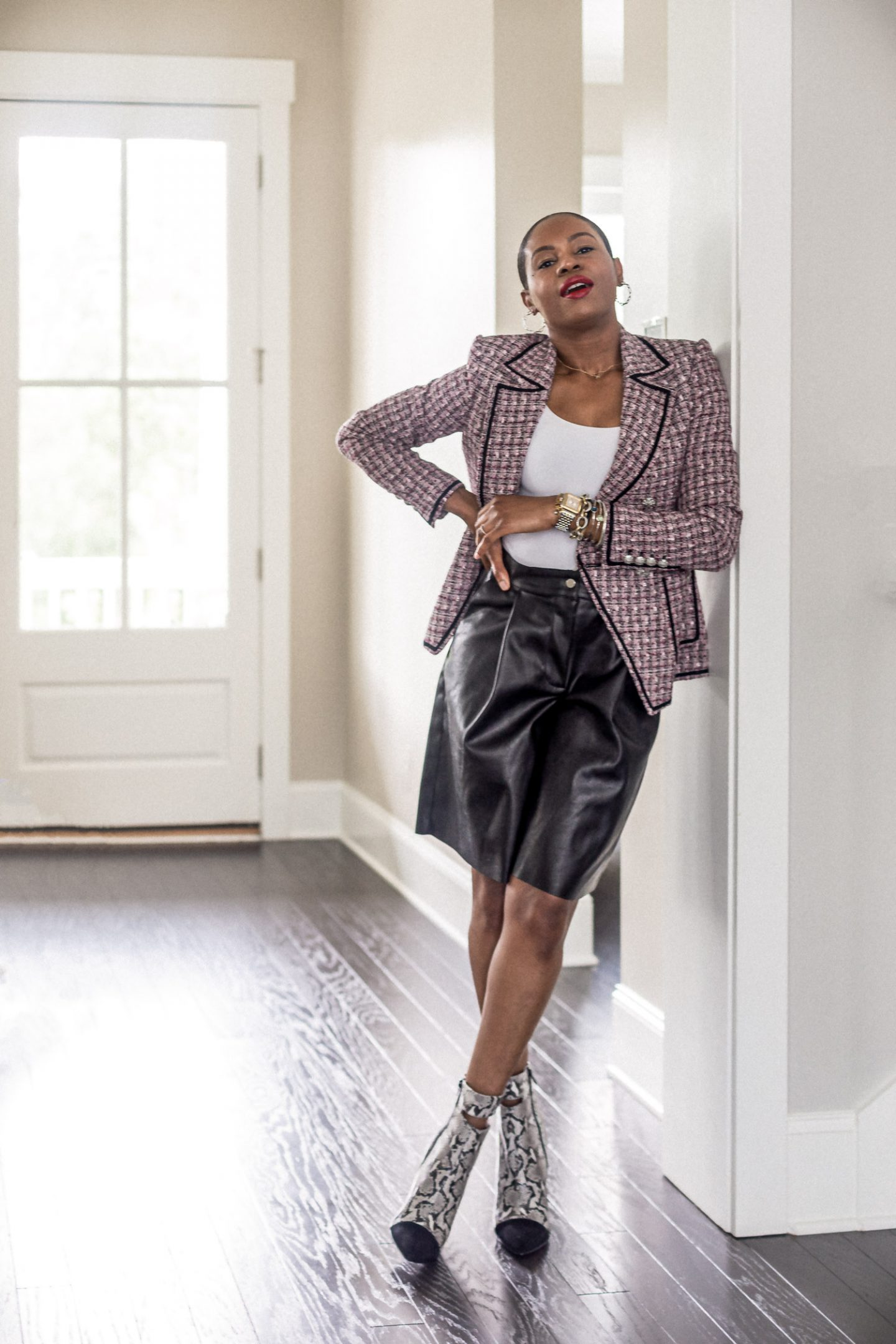 atlanta blogger wearing pieces from the nordstrom sale_tweed blazer, veronica beard blazer, black leather shorts, snake boots, how to style a tweed jacket