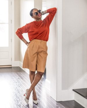 atlanta blogger wearing pieces from the nordstrom sale, nsale finds, what to buy from the nordstrom sale, leather shorts, how to style leather shorts, burnt orange sweater, how to style sweaters for fall, orange sweater, burnt orange sweater, amina muaddi pumps, what to wear with amina muaddi pumps