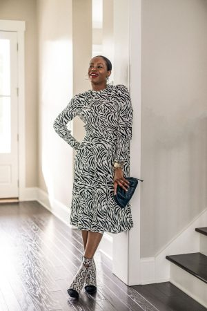 atlanta blogger wearing pieces from the nordstrom sale, zebra dress, snake boots, how to style print on print, nsale finds, what to buy from the nordstrom sale
