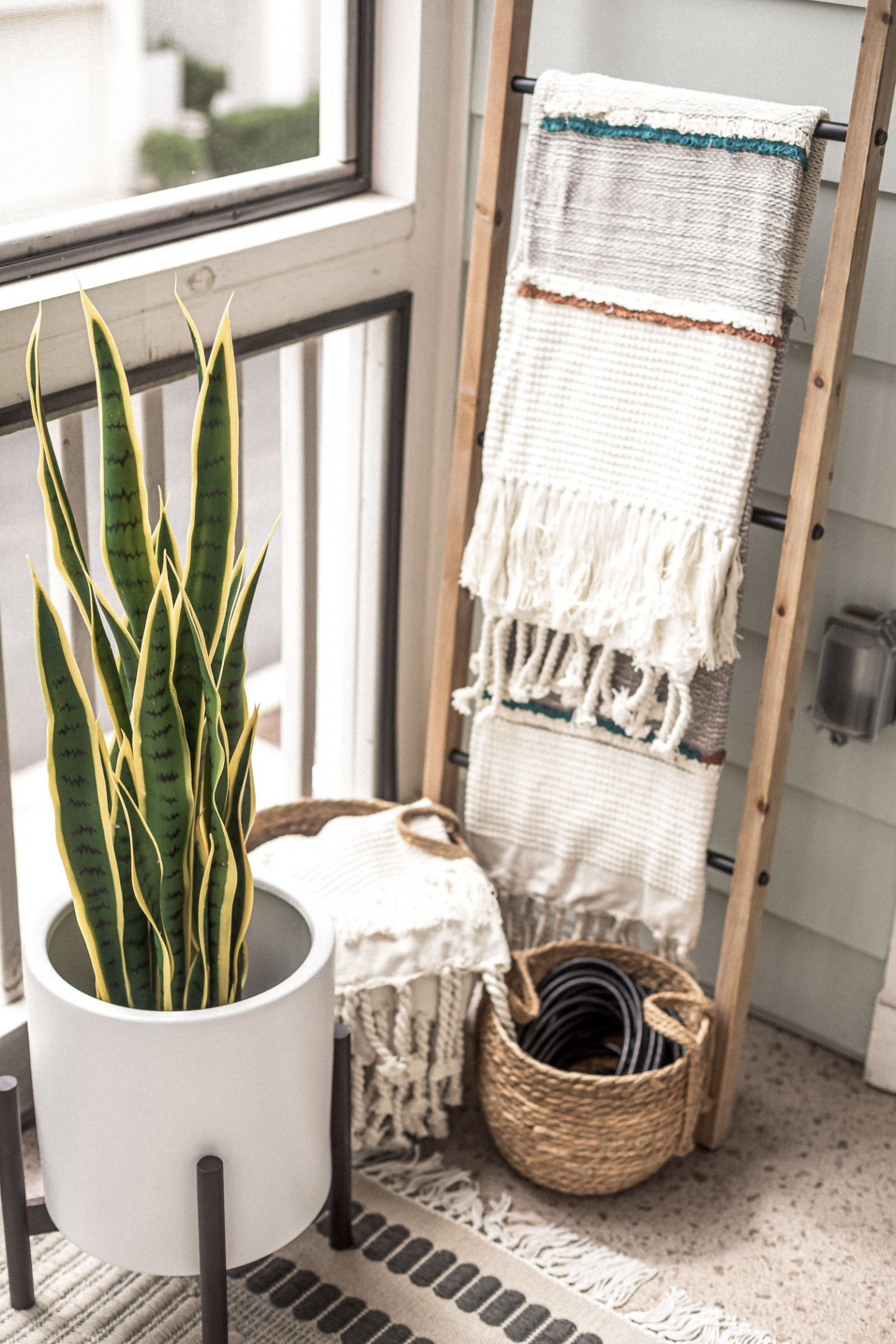 planter from amazon home, blanket ladder, decorative ladder, small basket, how to hid appliances