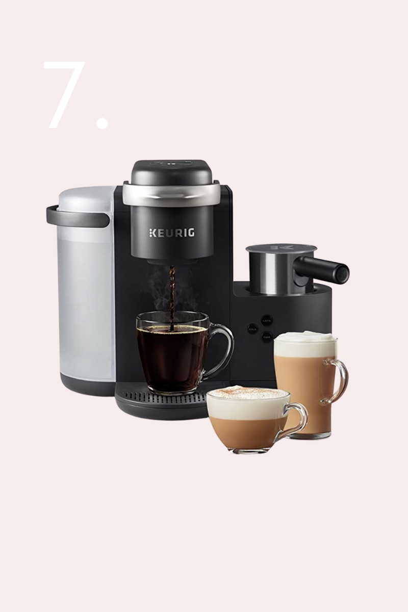 Keurig K-Cafe Coffee Maker, Single Serve K-Cup Pod Coffee, Latte and Cappuccino Maker, Comes with Dishwasher Safe Milk Frother, Coffee Shot Capability, Compatible With all K-Cup Pods, Charcoal, holiday gifts, gifts for the home, gift guide, oil diffuser