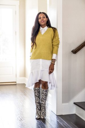 yellow sweater, how to layer a yellow sweater, white shirt dress, how to style a shirt dress for fall, zamie nyc, black designer, fall sweaters, best fall sweaters, atlanat blogger list best sweaters for fall_