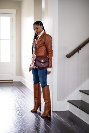 atlanta blogger shows you had to style faux leather for fall, fall leather, leather trend, how to wear faux leather, how to style faux leather, leather, leather trend, leather shirt, leather, leather blazer, caramel blazer, how to style a blazer, faux leather blazer, riding boots, ysl boots, how to style western boots, chloe bag, burgundy bag, long braids, how to style braid, ivory sweater