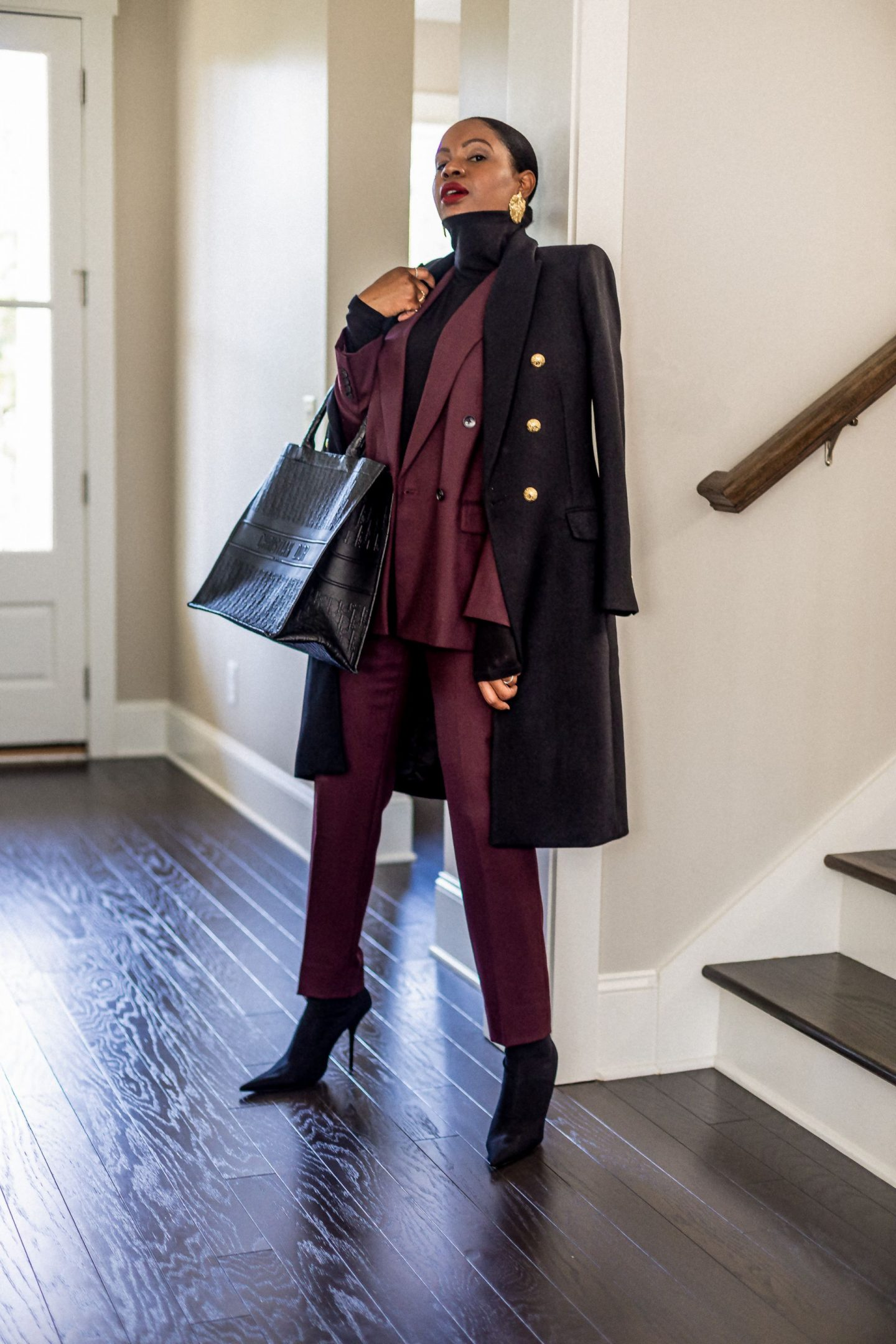 atlanta blogger wearing burgundy suit from m.m. lafleur, how to style a suit, what to wear to work, work looks, work outfits, work outfit inspiration, work lookbook what to wear to work, boy friend blazer, cigarette pants, how to style cigarette pants, zara coat, black coat, travel outfit, work travel outfit,