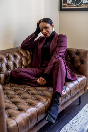atlanta blogger wearing burgundy suit from m.m. lafleur, how to style a suit, what to wear to work, work looks, work outfits, work outfit inspiration, work lookbook what to wear to work, boy friend blazer, cigarette pants, how to style cigarette pants,