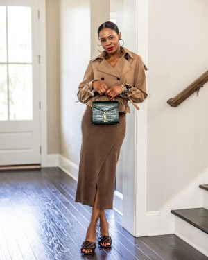 atlanta blogger wearing brown crop jacket, double breast jacket, crop trench coat, from m.m. lafleur, how to style a suit, what to wear to work, work looks, work outfits, work outfit inspiration, work lookbook what to wear to work, boy friend blazer, knit skirt, zara knit skirt, zara, midi skirt, bottega mules, bottega veneta padded mules, browns shoes, bottega brown padded mules