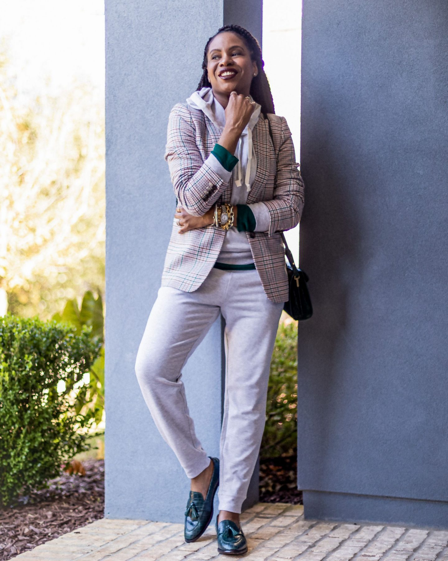 plaid blazer, green plaid blazer, how to style a grey hoodie and joggers, green tee, j.crew, how to look casual-chic, green loafers, embossed loafers, how to style green shoes, atlanta blogger wearing fall pieces from j.crew to work from home, fall staples, what to wear for fall, fall outfit ideas