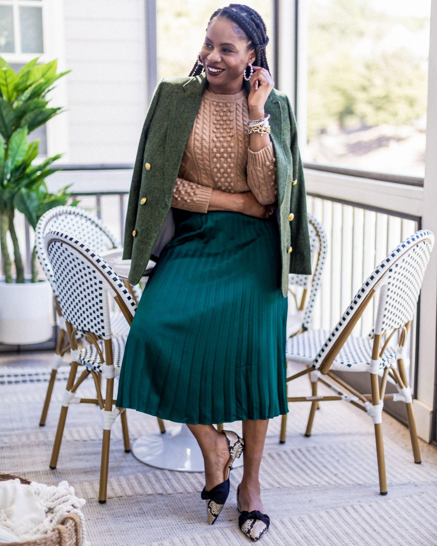brown sweater, green pleated skirt, snake skin shoes, green herringbone blazer green blazer, how to wear green, atlanta blogger wearing fall pieces from j.crew to work from home, fall staples, what to wear for fall, fall outfit ideas