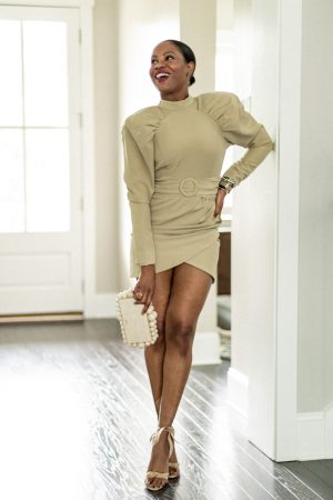 atlanta blogger wearing an olive puff sleeve mini dress for a holiday party, holiday parties, holiday dresses, zoom party