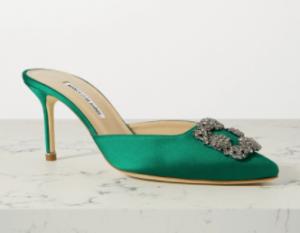 green shoes, manolo blahnik