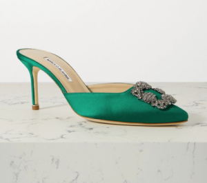 mules, green shoes